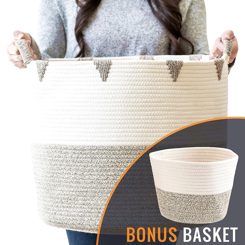 "Little Hippo 2pc Large Cotton Rope Basket (17""x15"") 100% Natural Cotton! Rope Basket, Woven Storage Basket, Large Basket, Blanket Basket Living Room, Toy Basket, Pillow Basket, Round Basket"