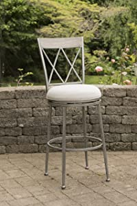 Hillsdale Furniture Hillsdale 6319-826 Stewart Indoor/Outdoor Swivel Counter Stool, Aged Pewter