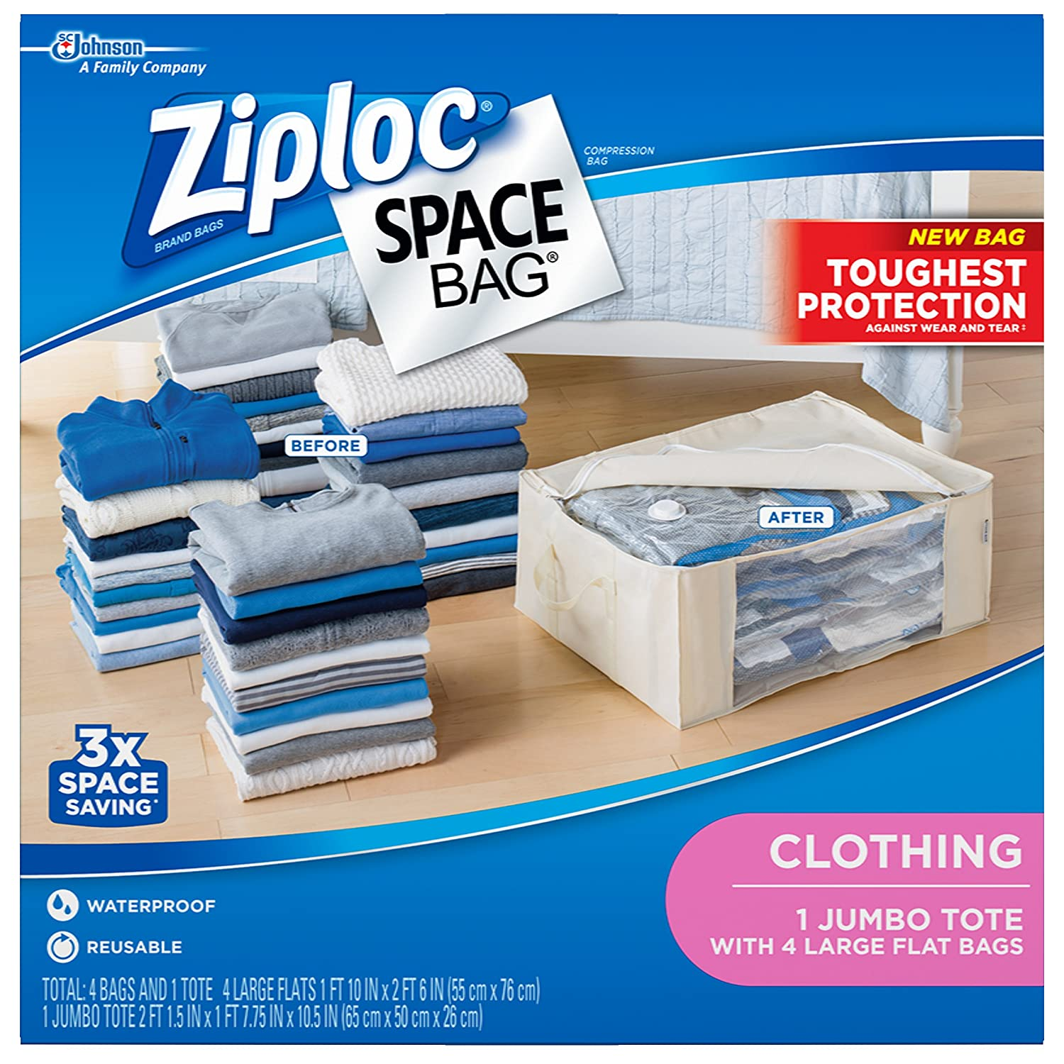 Ziploc FBA_70311 Clothing Space Bag, Variety Pack 5 Count
