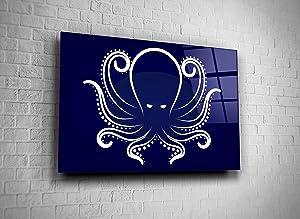 Genericc Octopus Tempered Glass Wall Art Present Home Decor Office Decor Hotel Decor Modern Art Decor Gift (24x36)