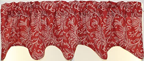 Ellis Floating Leaves Lined Scallop Valance 70Wx16L- Red