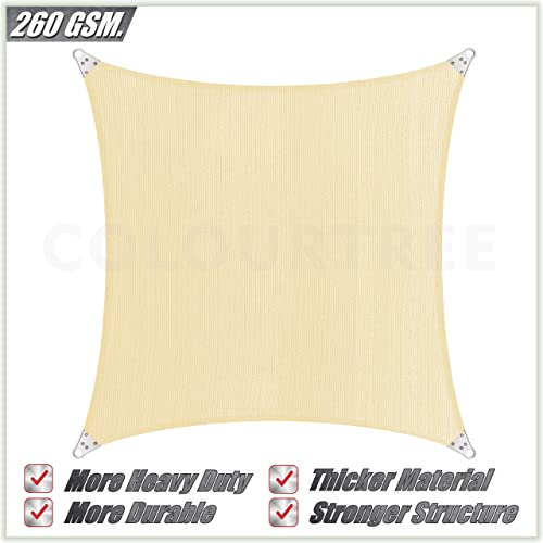 ColourTree Super Ring Customized Size Order to Make Custom Size 44 x 47 Beige Sun Shade Sail Canopy Awning Shades for Patio – Commercial Standard Heavy Duty – 260 GSM – 5 Years Warranty