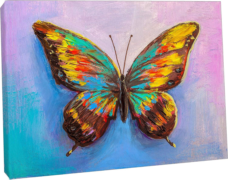Cuadro abstracto de mariposa sobre lienzo enmarcado para decoración del hogar, Lienzo de tela, 12''x 8''inch(30x 20 cm) -18mm depth