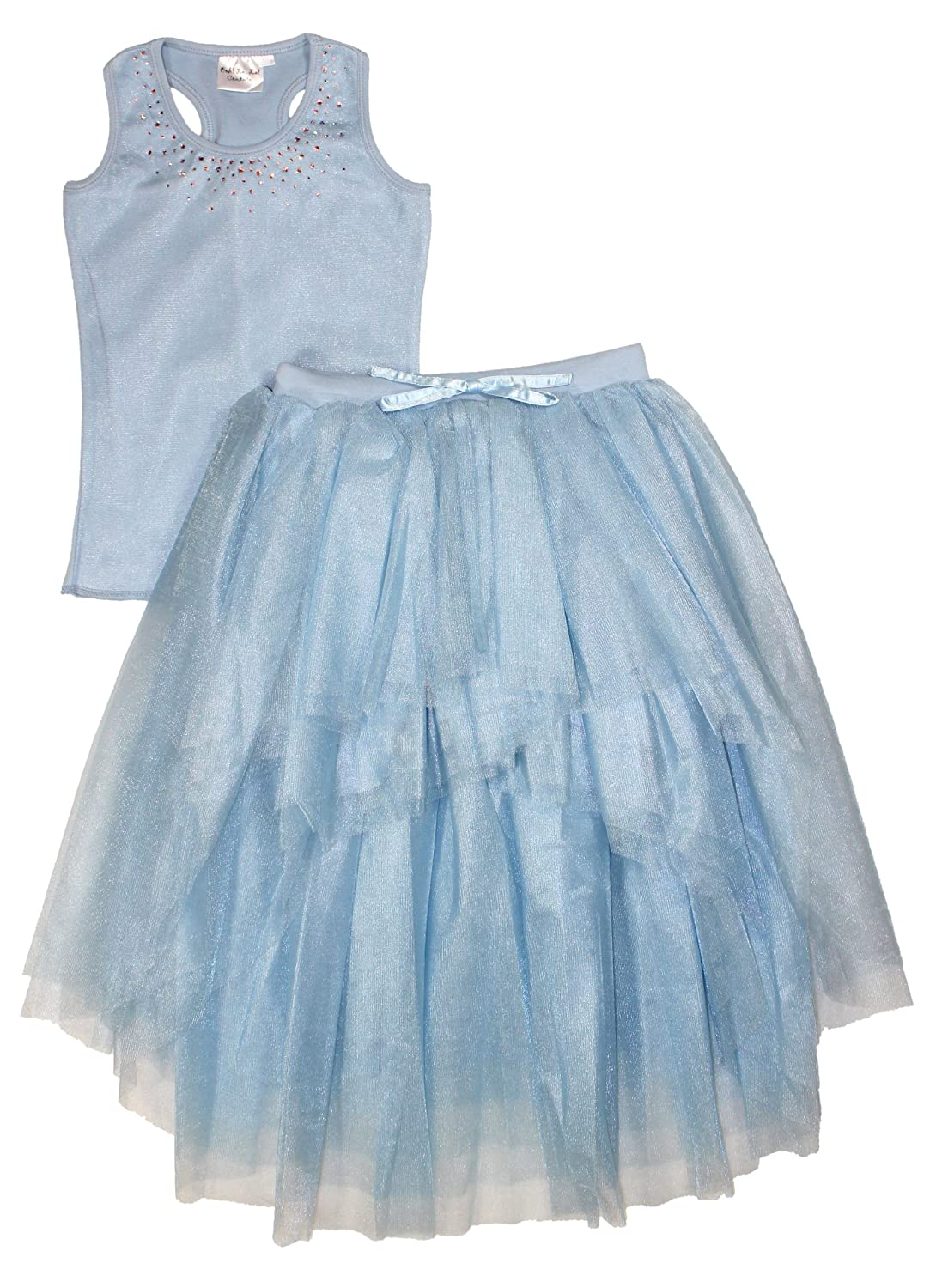 Ooh la la Couture Girls Swarovski Hi Lo Skirt Set 14 Lt Blue