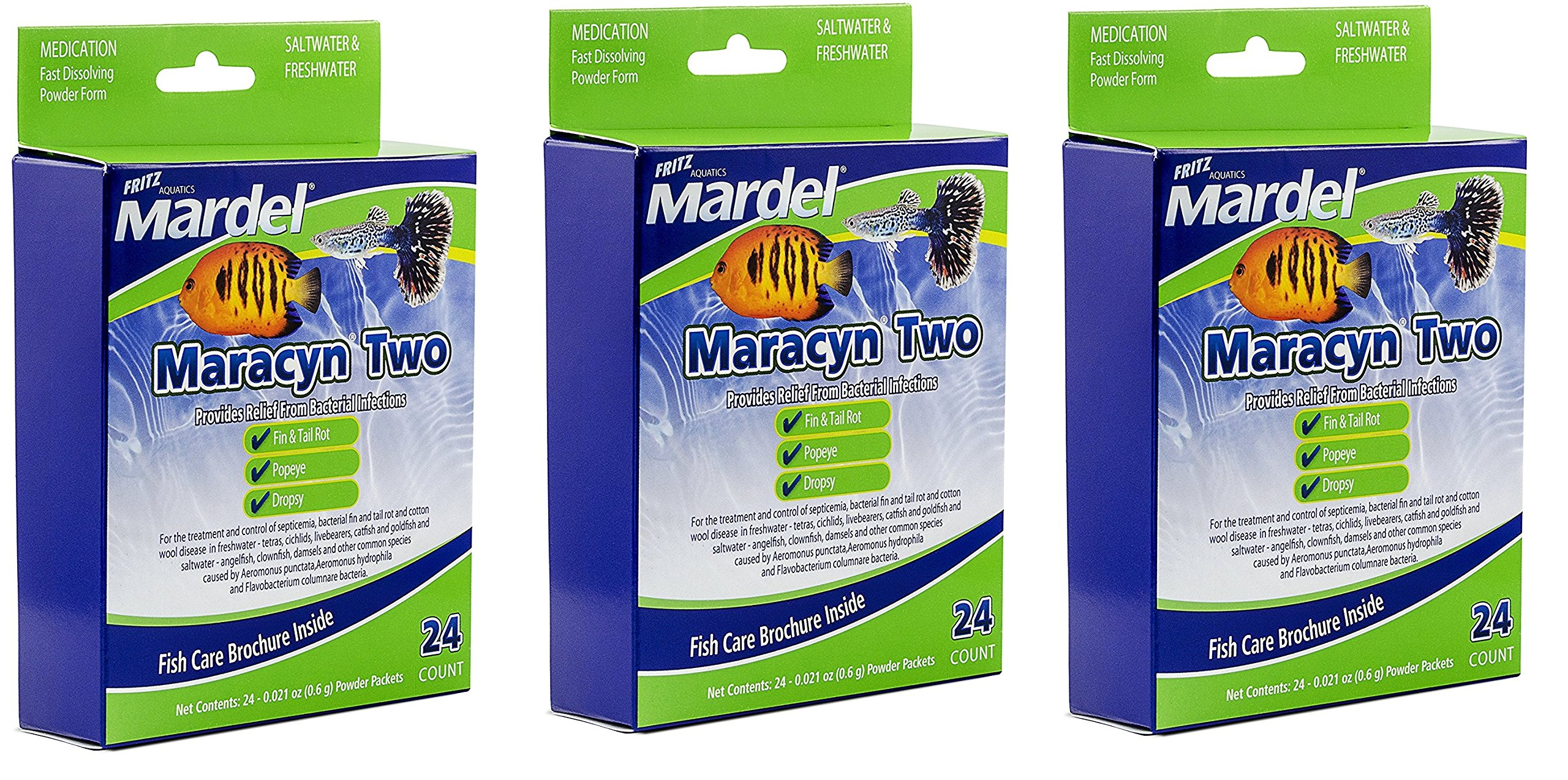 72 Count Fritz Aquatics Mardel Maracyn 2 Treatment (3 Packages with 24 Each)