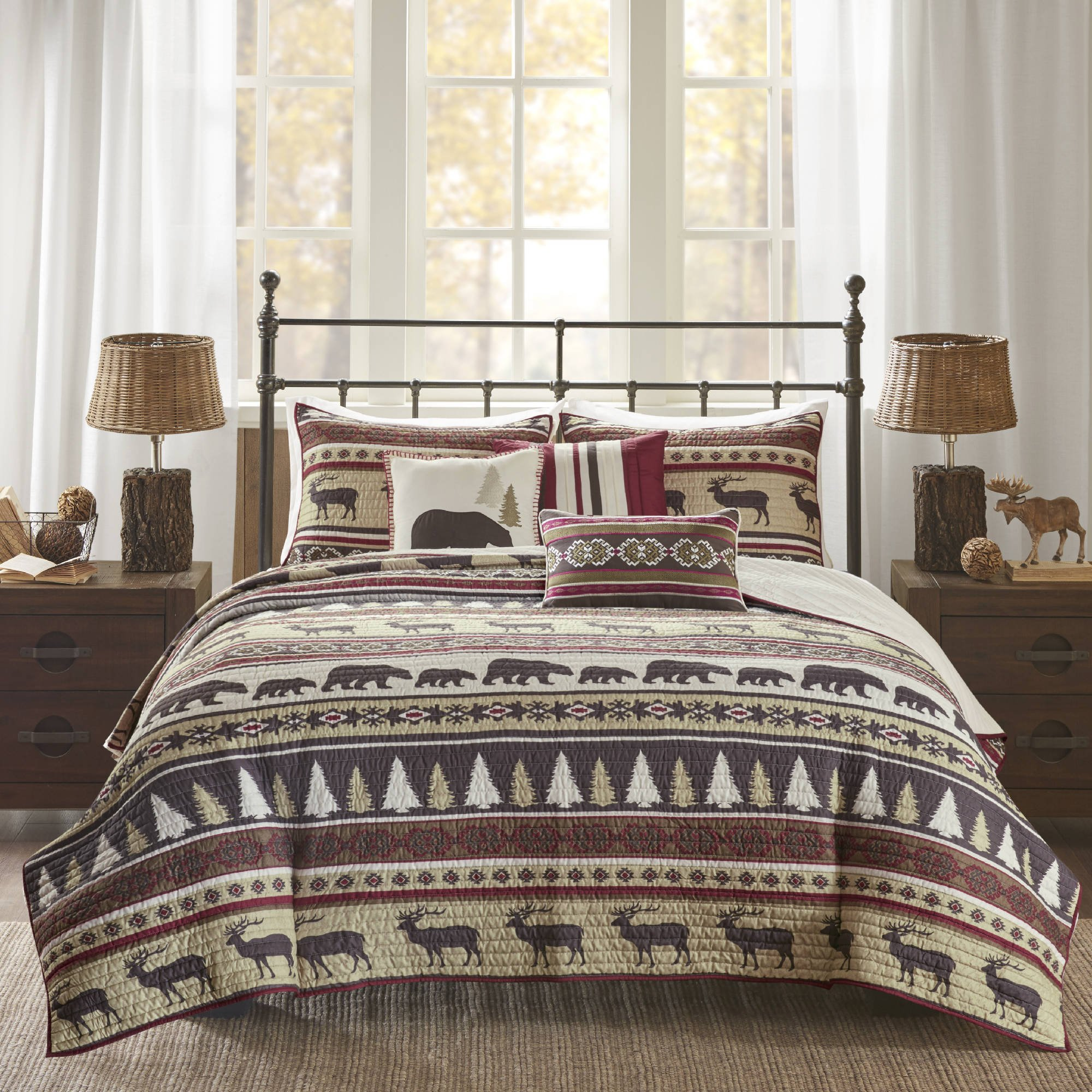 6 Piece Red Animal Print Full Queen Coverlet Set, Lodge Cabin Hunting Nature Theme Bedding, Horizontal Stripes Warm Cozy Bear Moose Evergreen Tree Print Diamond Shaped, Polyester