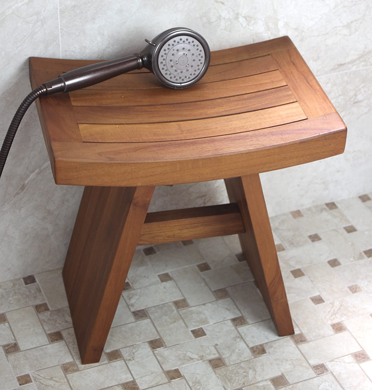 image quarter bamboo bathroom stool amazoncom the original asia 18quot teak shower bench health amp personal care
