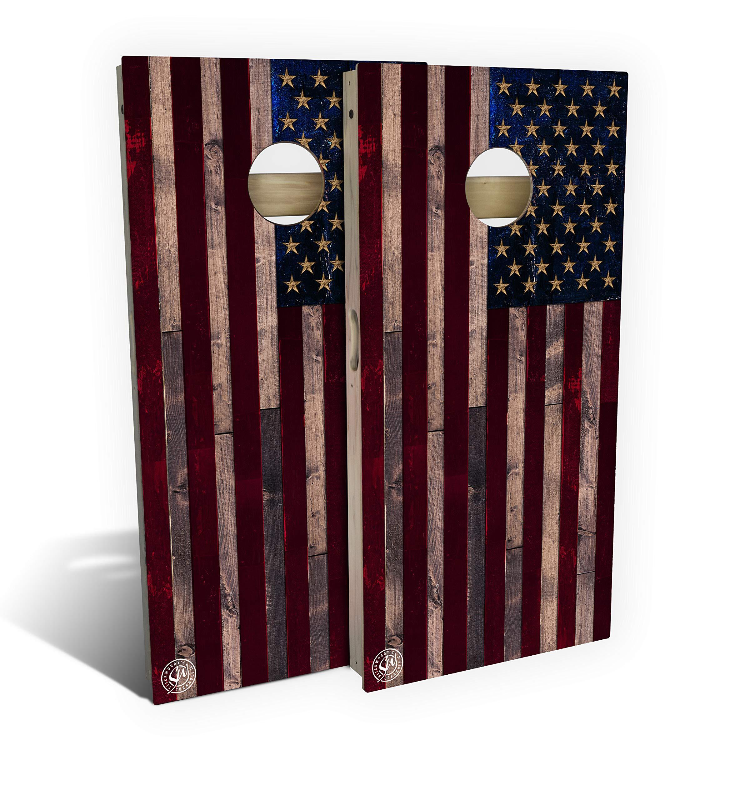 Slick Woody'S Full Color Rustic American Flag Cornhole Set