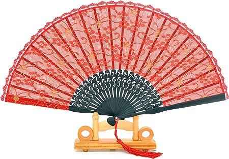 Abanico de seda y bambú de mano, plegable y con funda de abanico de seda hecha a mano y caja de regalo, ideal para bodas para niñas o mujeres, plástico, Rojo: Amazon.es: