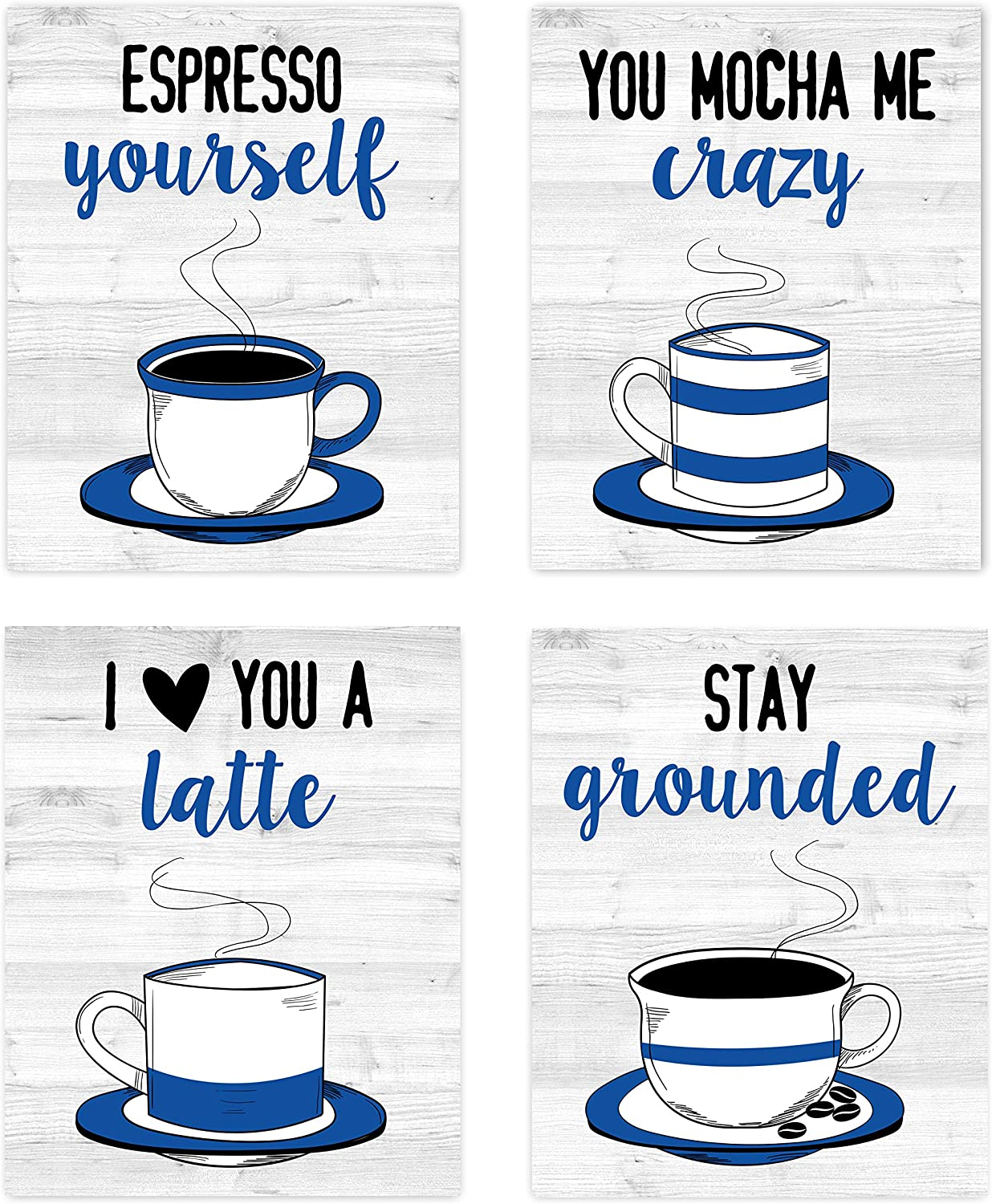 "Retro Vintage Inspirational Kitchen Restaurant Wall Art Coffee Mugs Tea Prints Posters Signs Funny Puns Sayings Quotes for Rustic Modern Farmhouse Country Home and Dining Decor Decorations Set of 4 Unframed 8"" x 10"" Navy Royal Blue Black & White"