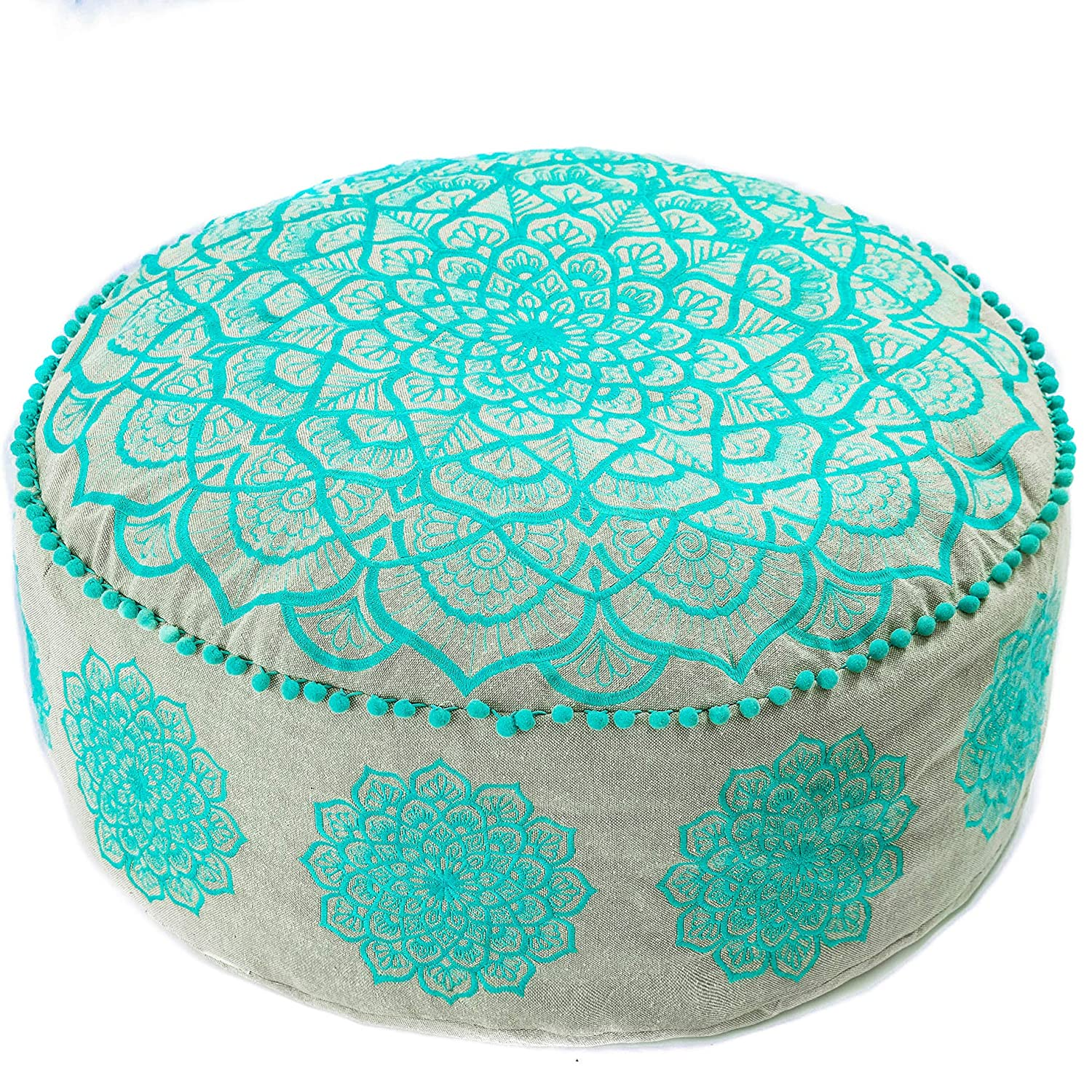Bohemian Pouf Ottoman –STUFFED - Luxury, Artisan Room Décor Pouffe for Meditation, Yoga, and Boho Chic Seating Area Stool Floor Pillow – Accent Your Living Room, Bedroom, More – Handmade in India by Mandala Life ART PoufStaffedPBlue