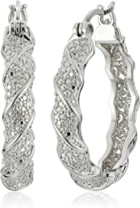 Amazon Collection Plated Bronze Diamond Accent Twisted Hoop Earrings