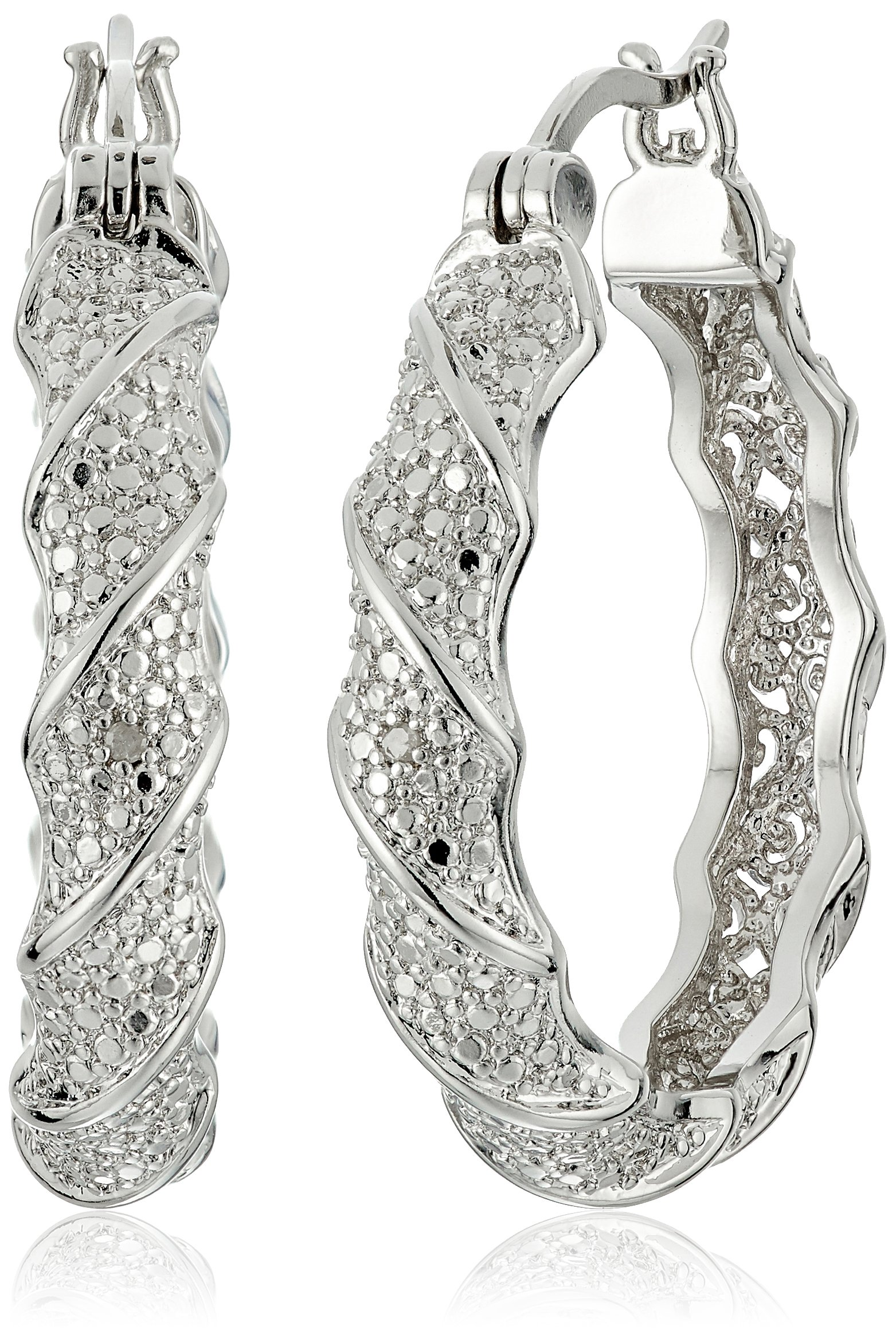 Fine Silver Plated Bronze Diamond Accent Twisted Hoop Earrings