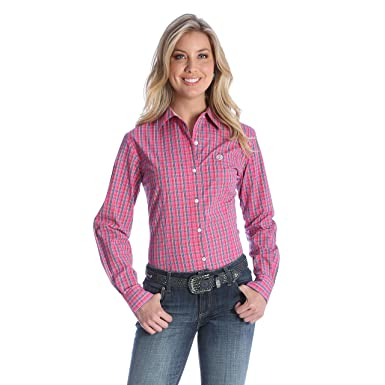 23a5c9236 Wrangler Women's George Strait For Her Button Down Shirt, Pink/Navy/White  Plaid