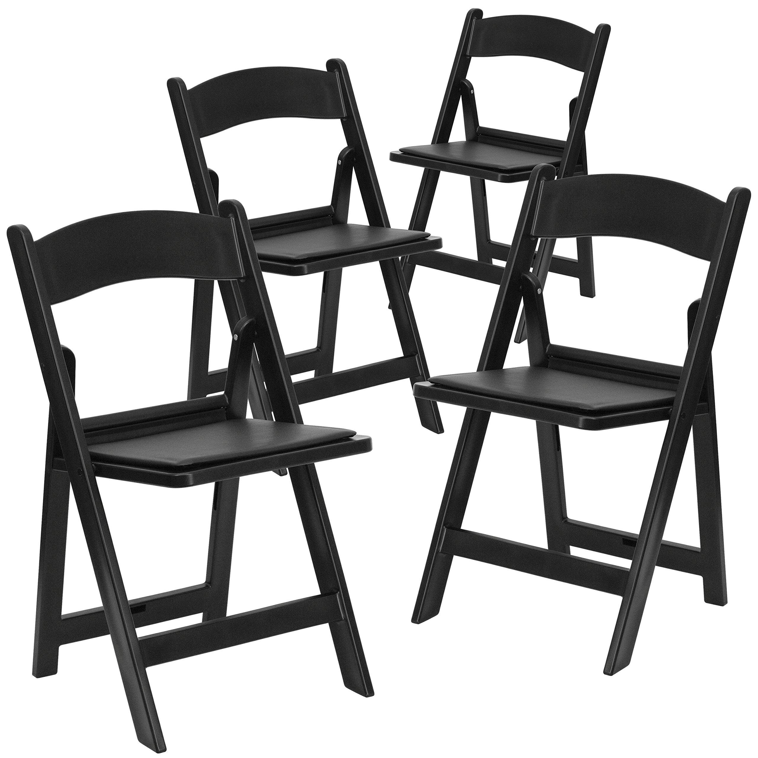 Flash Furniture 4 Pk. HERCULES Series 1000 lb. Capacity Black Resin Folding Chair with Black Vinyl Padded Seat
