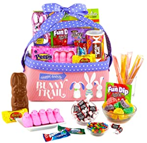 Easter Gift Basket (Pink)- Easter Snack Gift - Gift Basket filled w/ Various Easter Themed Candies, Marshmallow, Bunny and Chocolates - Great Easter Gift for Family, Friends, Kids, Coworkers
