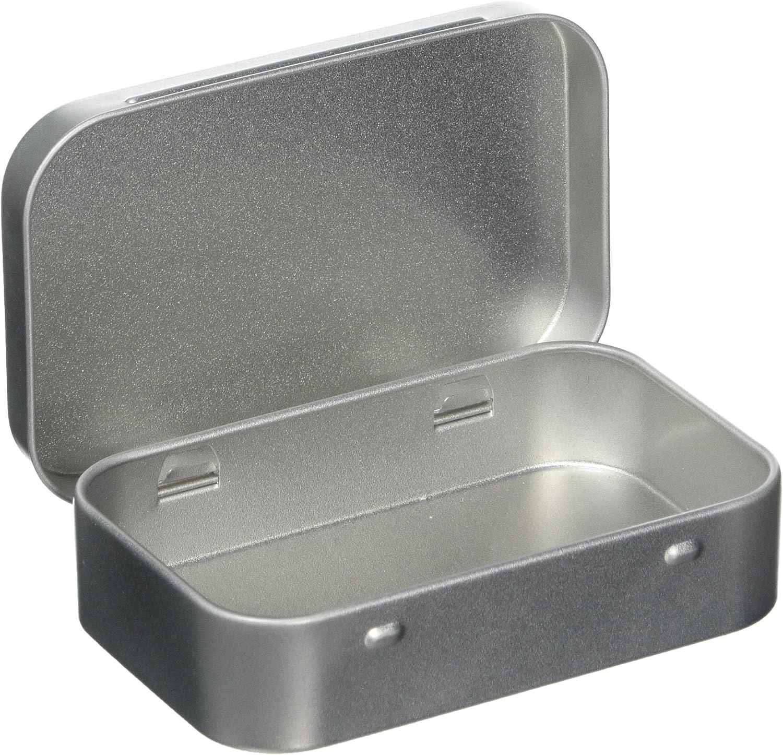 ohne Inhalt Scharnierdeckel Aufbewahrungsdose Silberfarben 1/x Mini-Blechdose f/ür Tabak