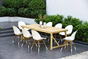 Amazonia Thames 9-Piece Rectangular Patio Dining Set | 100% Teak Table | Durable and Ideal for Outdoors, White
