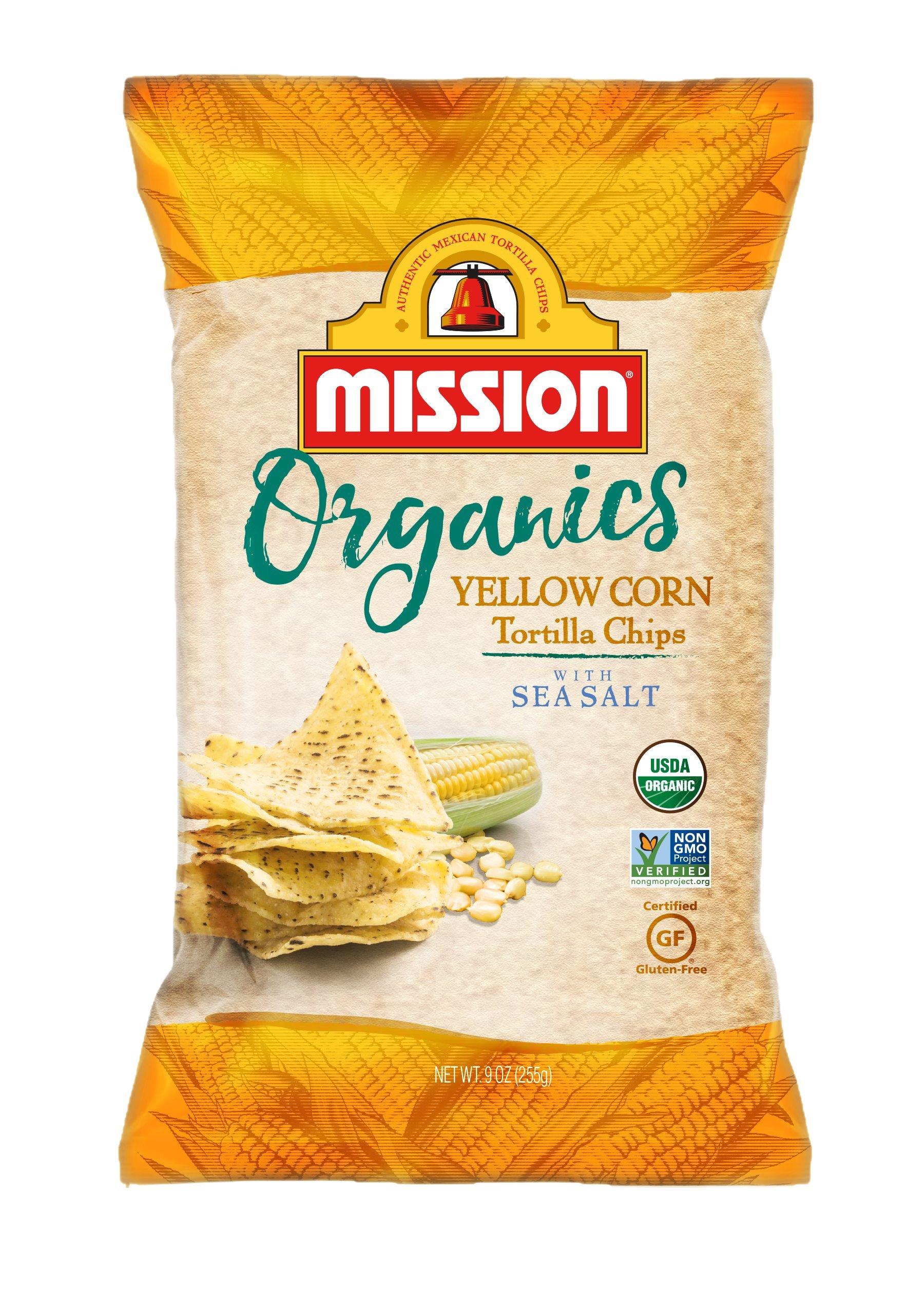 Mission Foods Organic Yellow Corn Tortilla Chips, 9 oz