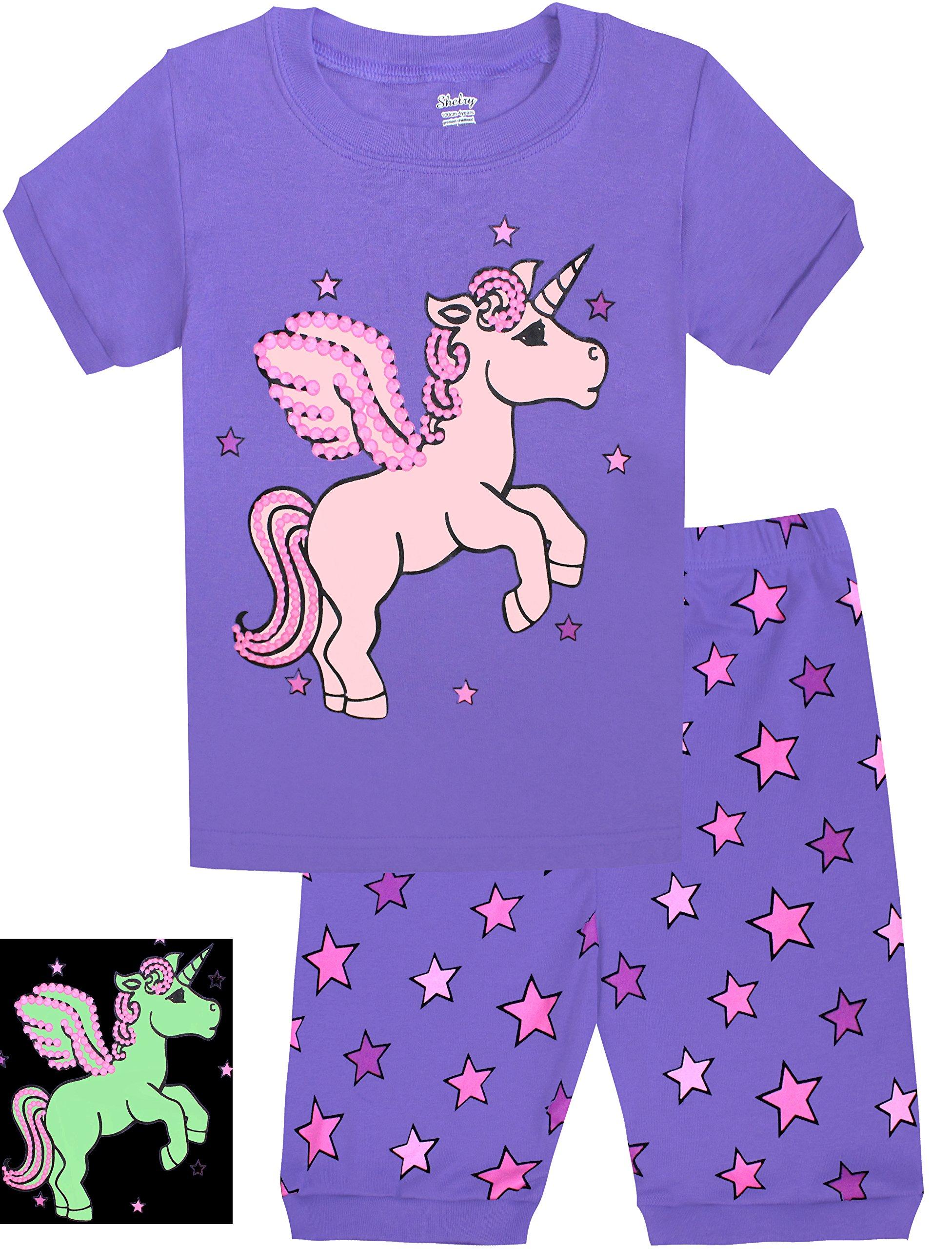 shelry Girls Horse Pajamas Shine at Night Sleepwear Children Cotton PJs Size 6Y