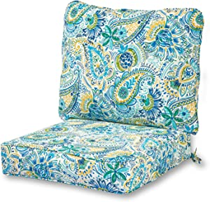 Greendale Home Fashions AZ7820-BALTIC Paisley Outdoor 2-Piece Deep Seat Cushion Set