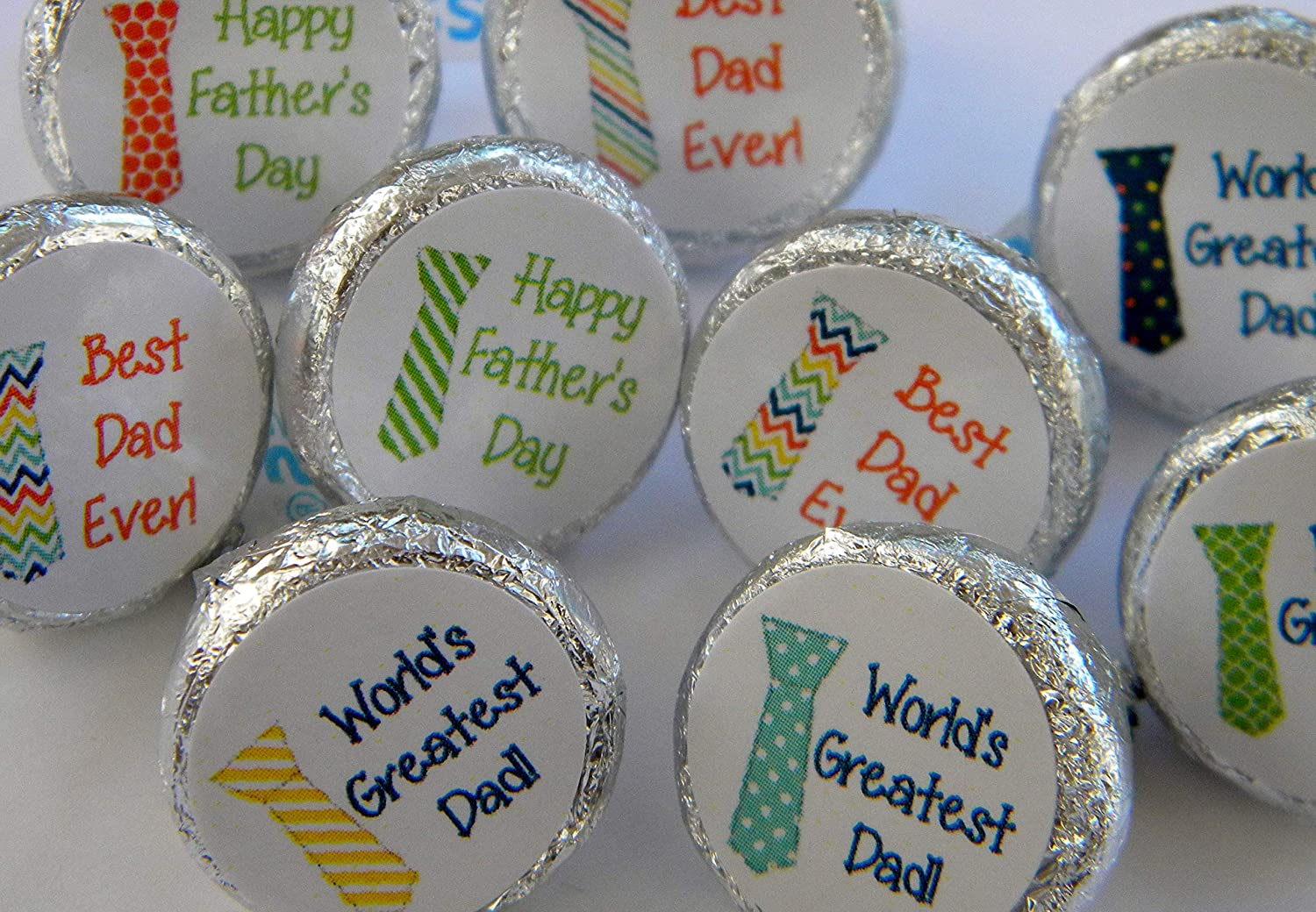 108 per page Perfect for party favors Personalized Fathers Day Tie Theme Hershey Kiss stickers