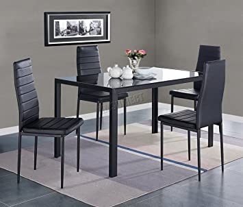 westwood glass top dining table with 4 chairs faux leather home rh amazon co uk
