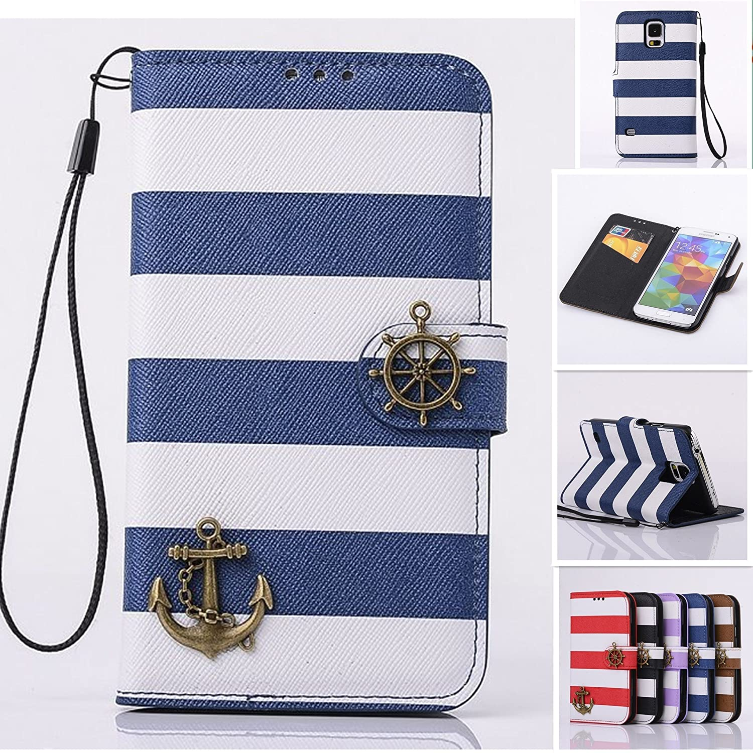 moahhally Luxury Leather Wristlet Rudder Navy Stripes Anchor Stand Flip Wallet Skin Phone Case Cover (Black,iPhone 6S Plus) 80%OFF