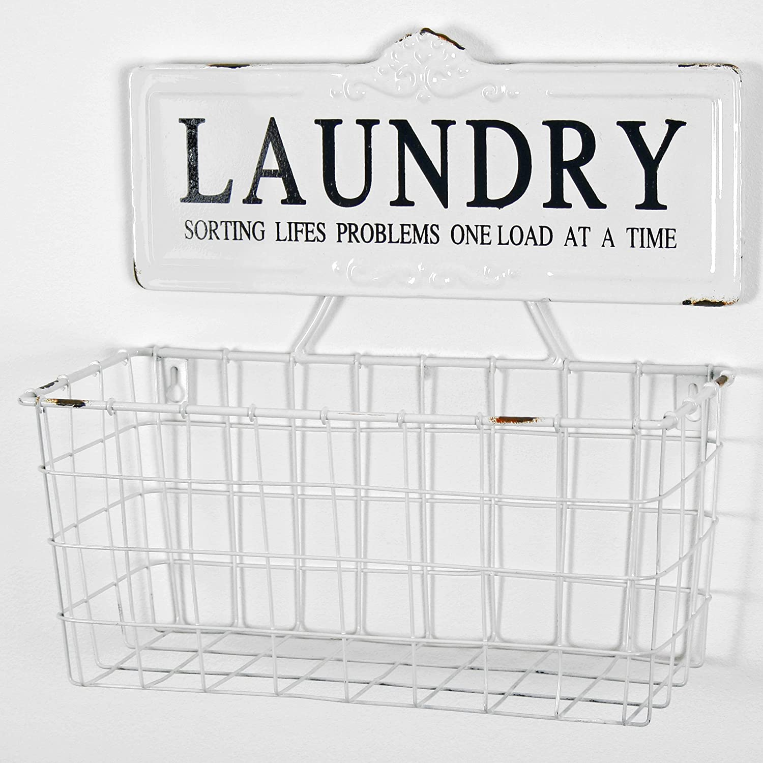 This farmhouse style UK metal laundry wall basket Import is original and unique.