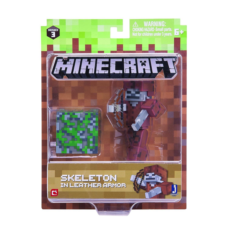 Minecraft 164877, 6cm Action Figure–Scheletro in pelle armatura confezione Jazwares Ind