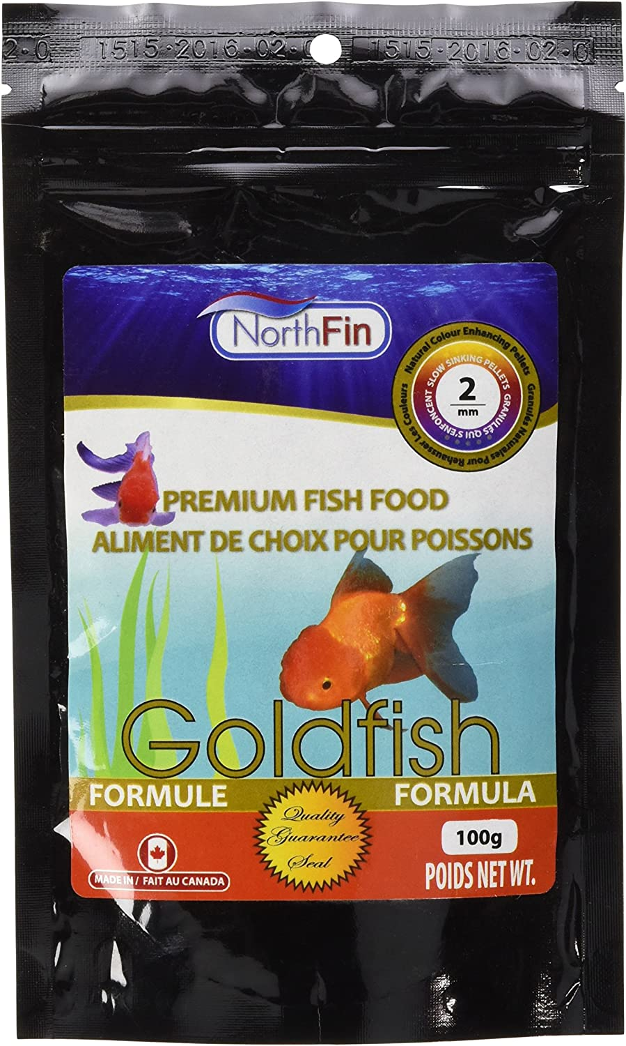 Northfin Food Goldfish Formula 2mm Pellet 100 Gram Package