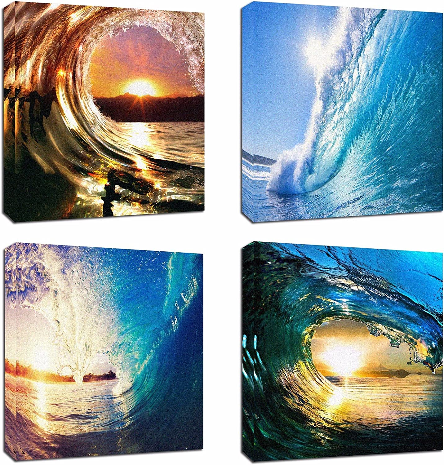 "4Pcs 12x12 Canvas Wood Stretched Blue Ocean Wave Surfing Sea Sunset Motivational Theme Pink Frame Landscape Abstract Modern Art For Home Room Office Wall Print Decor 12x12"" inch (30x30cm) (Canvas Not HD Ptints)"