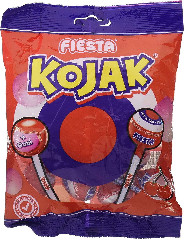 FIESTA Kojak - Caramelo con palo relleno de chicle - Sabor cereza ...