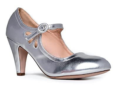 8155aeedf114 J. Adams Low Kitten Heels A Vintage Retro Round Toe Shoe with Ankle Strap  Pixie