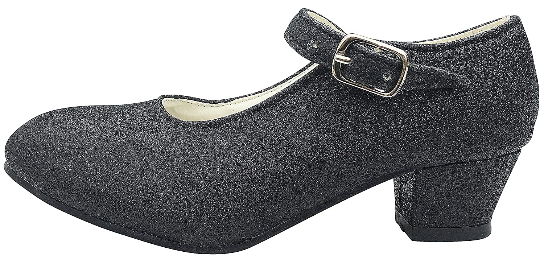 La Se/ñorita Zapato Flamenco baile Sevillanas ni/ña negro purpurina Talla 34-22 cm