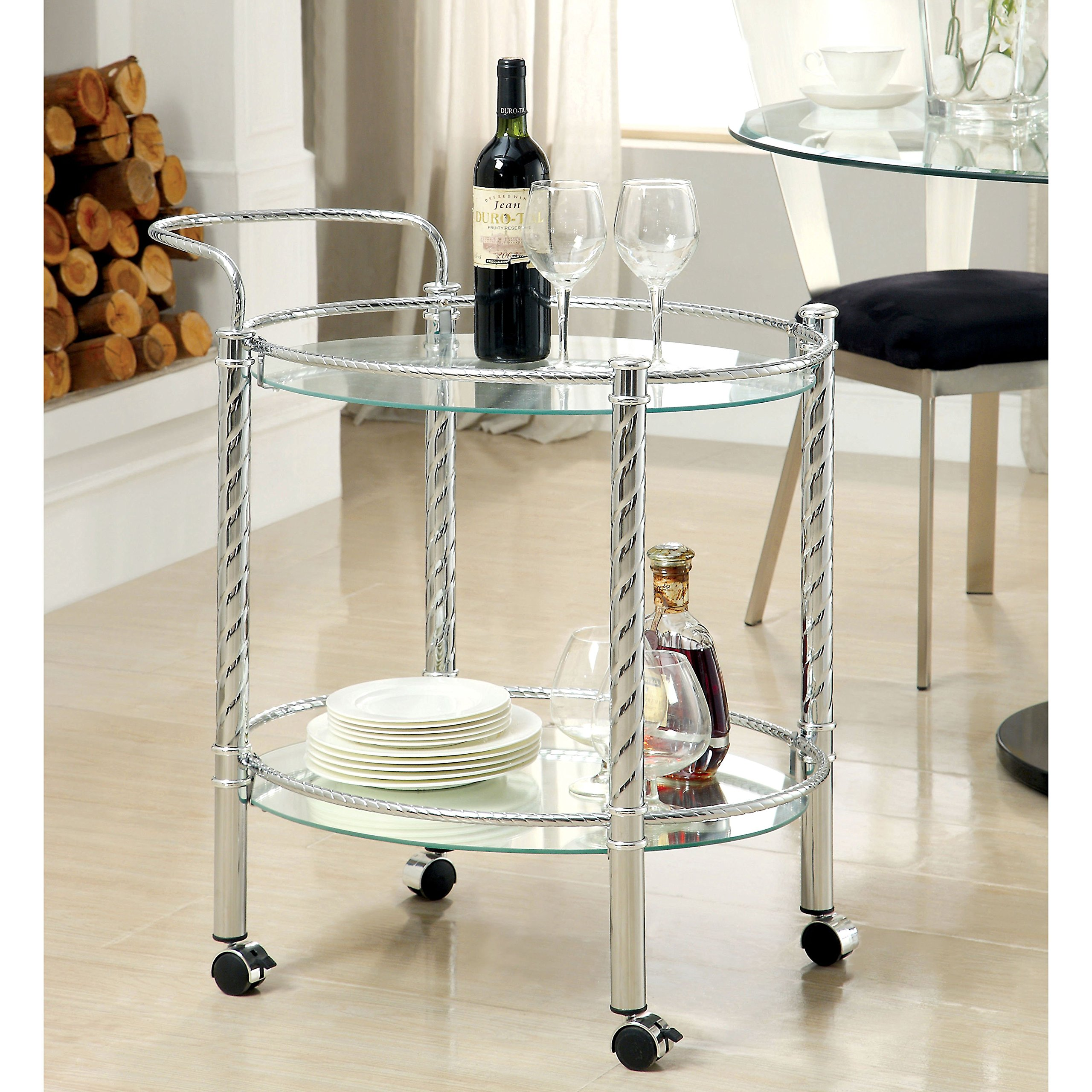 Contemporary Style Kitchen Serving Rolling Cart Round Shaped with Tempered Glass Top and Bottom Shelf | Metal Frame, Chrome Finish - Includes Modhaus Living Pen