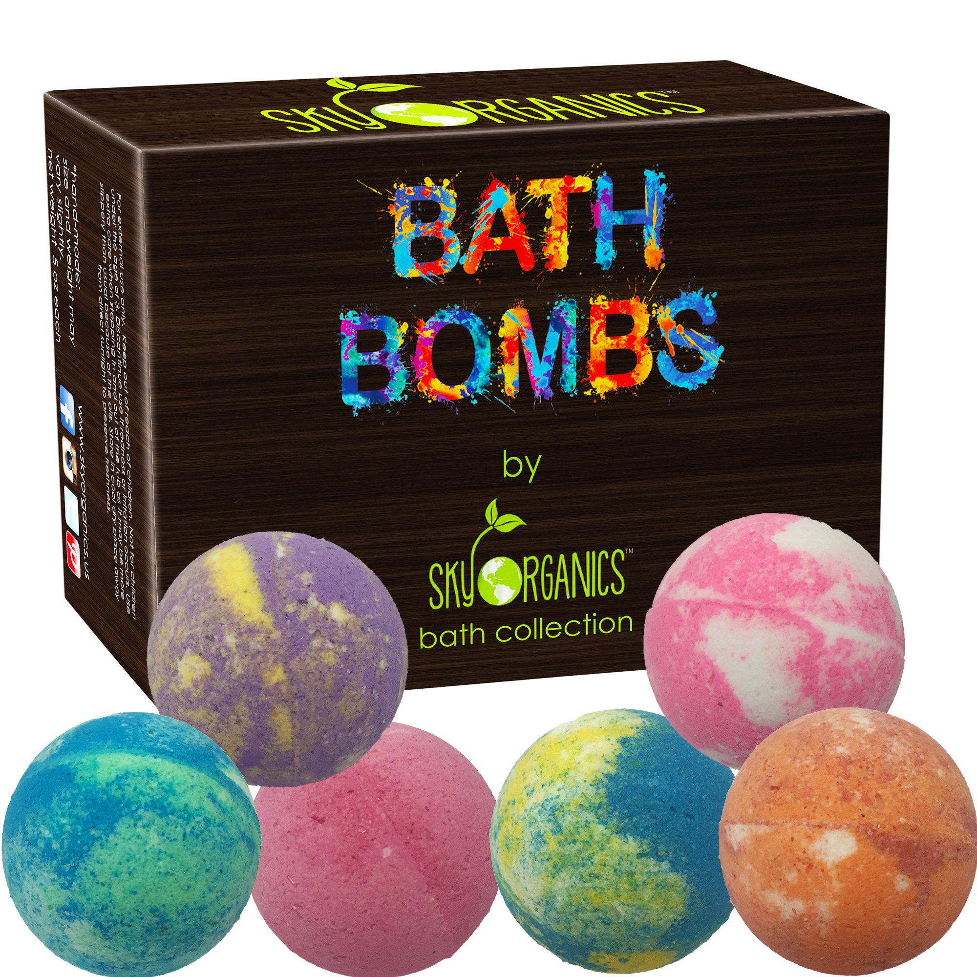 Bath Bombs Gift Set by Sky Organics, 6 x 5 Oz Ultra Lush Huge Bath Bombs Kit, Best for Aromatherapy, Relaxation, Moisturizing with Organic & Natural Essential Oils -Handmade Organic Spa Fizzies