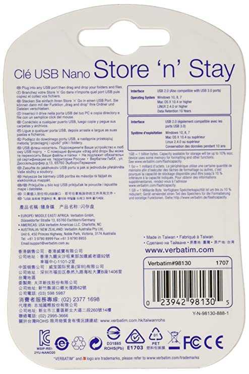 Verbatim 98130 32GB Speicher n bleiben NANO USB: Amazon.de: Computer ...