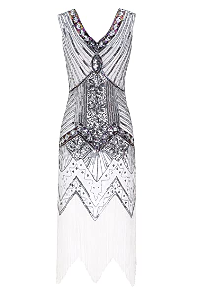 Metme Mujeres Años 20 V cuello con cuentas con flecos Gatsby tema vestido de aleta para