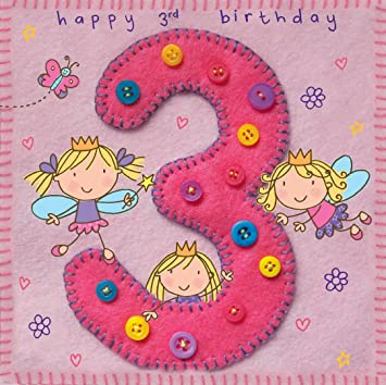 Twizler 3rd Birthday Card For Girl With Fairy Princess And Butterfly