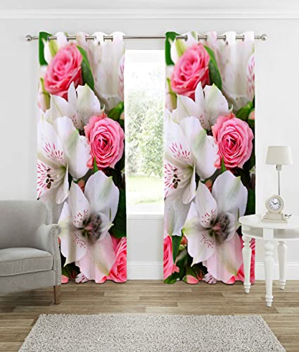 b7 CREATIONS� Polyester Knitted Floral Digital Printed Curtain for Door (White, 7 Feet)- 1Curtain
