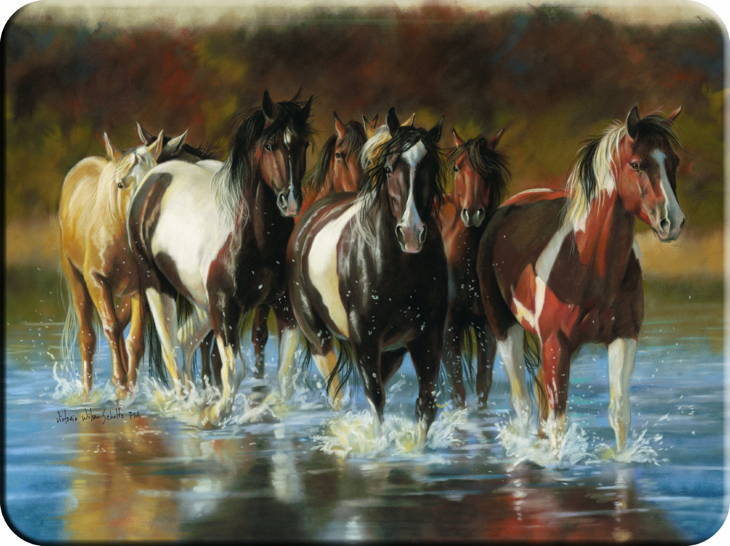 River's Edge Tempered Glass Cutting Board with Image of Horses Trotting through a Shallow River (Rush Hour Horses, 16-Inchx12-Inchx.3-Inch)