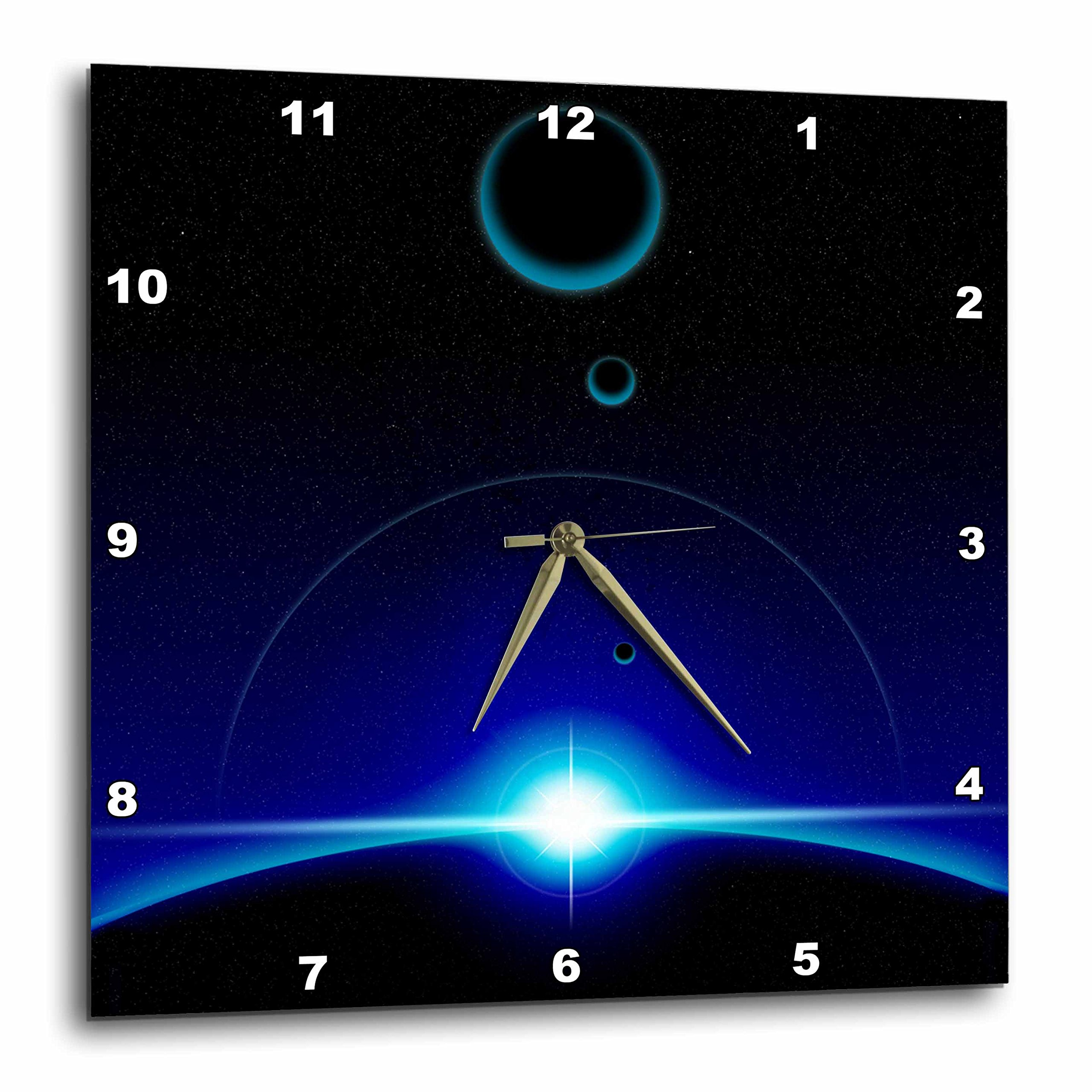 3dRose dpp_19255_1 Solar Scene Shows The Blue Light of a Star Cresting The Top Edge of a Planet in Space Wall Clock, 10 by 10-Inch
