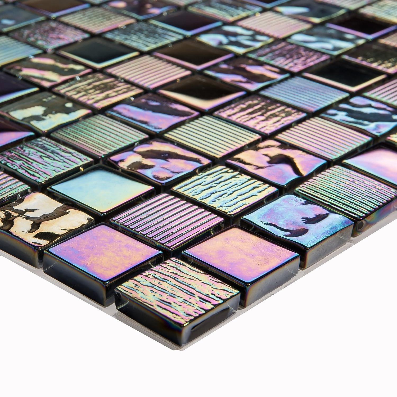 Patró n de 10 x 10 cm. Iris ierende Ná car Texturizado) Cristal azulejos mosaico en brillante oscuro Morado (mt0159 Sample) GTDE