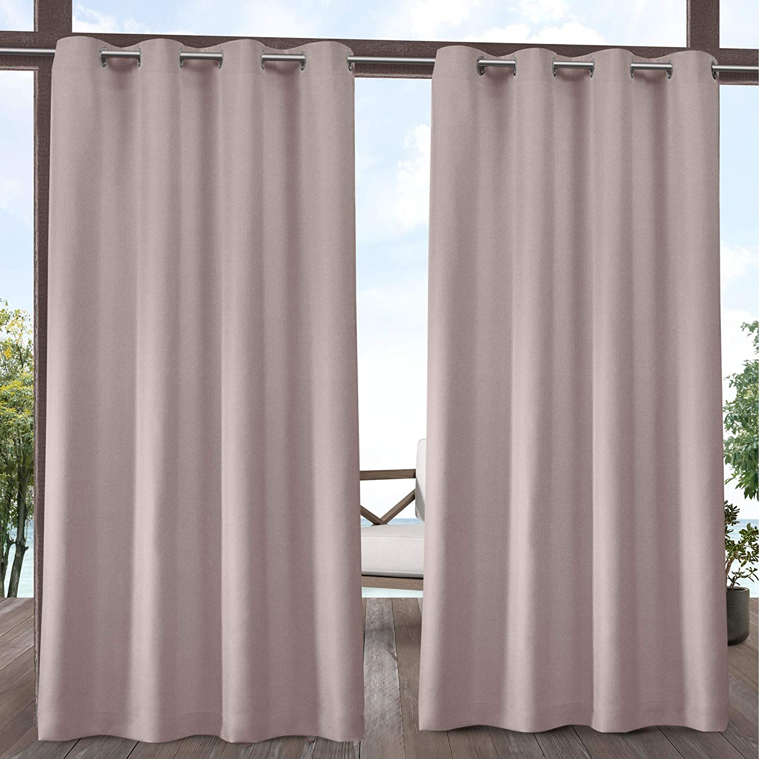 Exclusive Home Curtains Biscayne Indoor/Outdoor Two Tone Textured Window Curtain Panel Pair with Grommet Top, 54x108, Blush