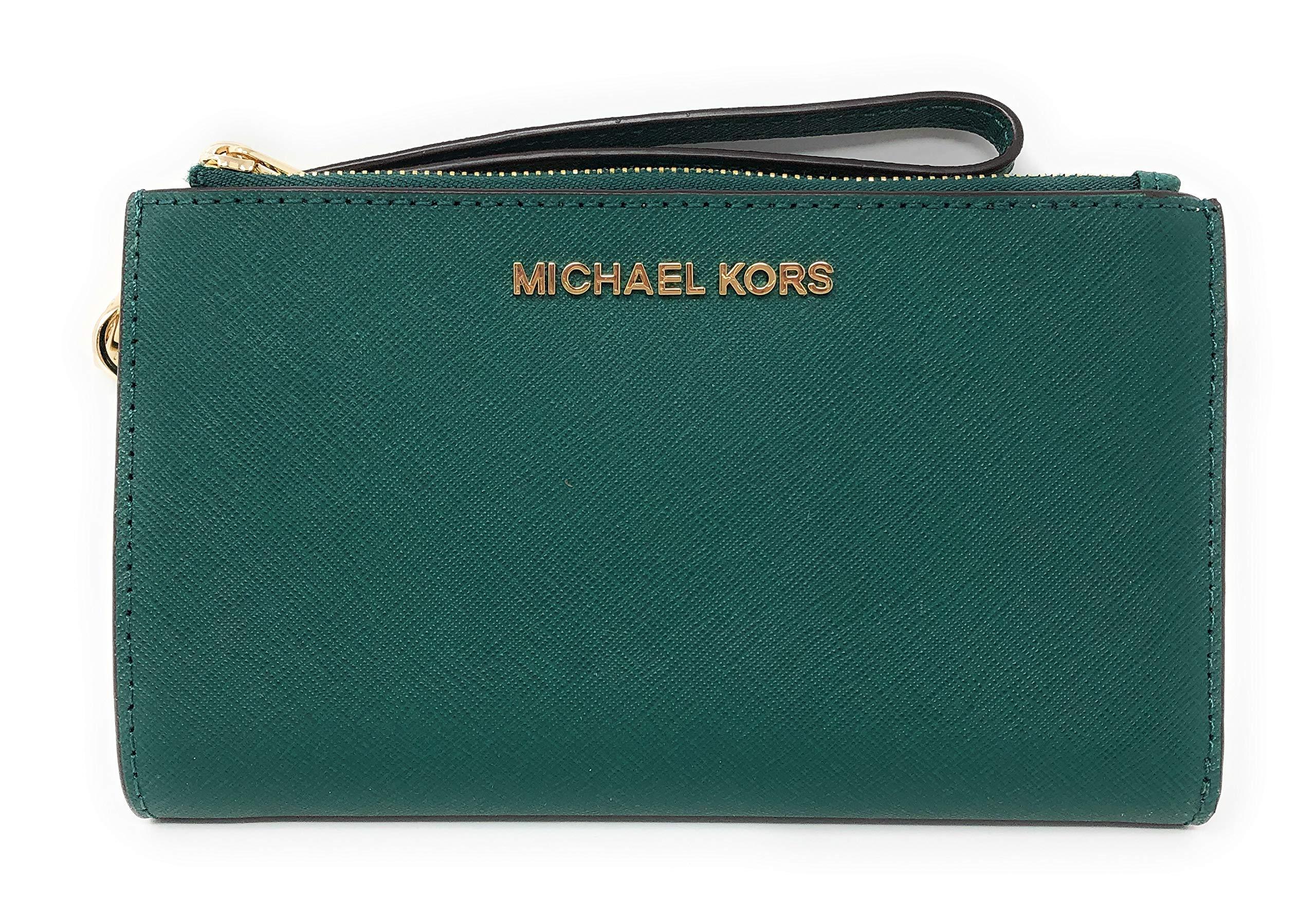 Michael Kors Jet Set Travel Double Zip Saffiano Leather Wristlet Wallet in Emerald by Michael Kors (Image #1)