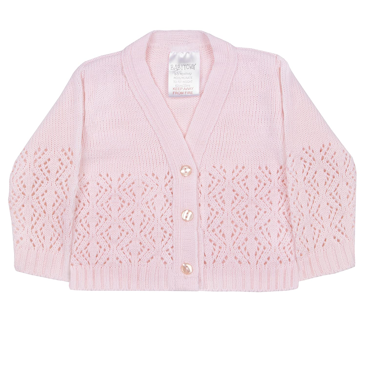 BABY TOWN Baby Girls Pink/White Knitted Lace Knit Button up Cardigans 0-6 Months BabyTown