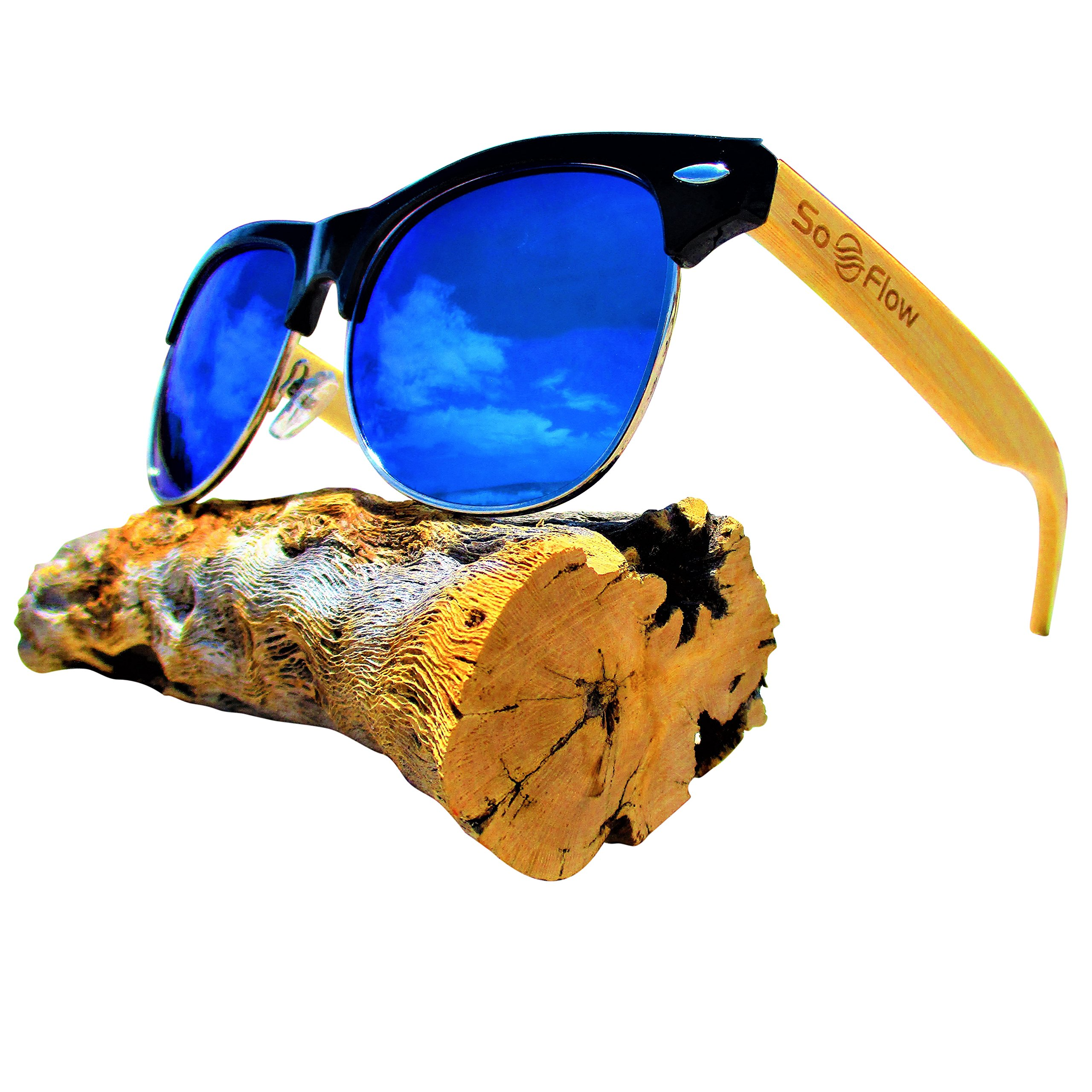 Blue Mirror Polarized Bamboo Wood Sunglasses Semi Rimless/Half Frame - Wooden