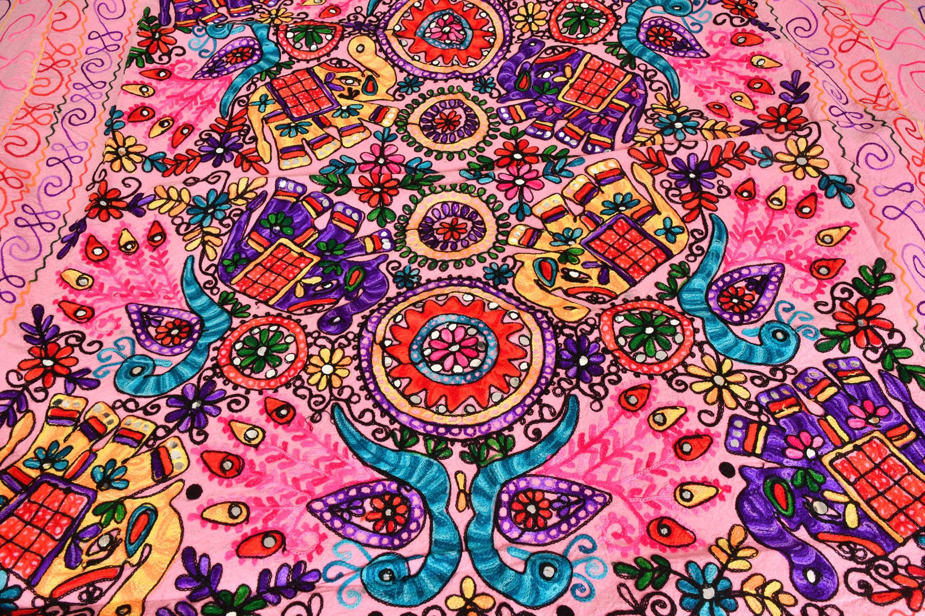 Bedspread from Gujarat with Embroidered Animals - Pure Cotton - Color Prism Pink Color by Exotic India (Image #2)