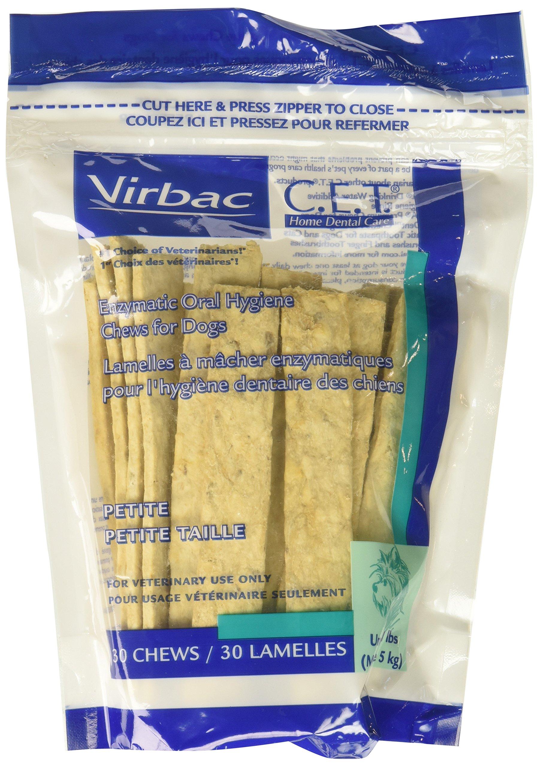 C.E.T. Enzymatic Oral Hygiene Chews, Petite Dogs, 3 Pack 90 Chews by Virbac